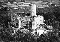 Zamek Lipowiec w Babicach - Zamek na fotografii lotniczej z okresu międzywojennego