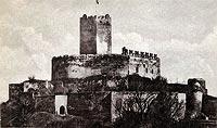 Zamek w Bolkowie - Zamek w Bolkowie na pocztówce z okresu międzywojennego