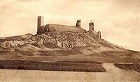 Zamek w Chęcinach - Ruiny zamku na widokówce z okresu międzywojennego
