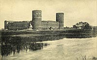 Zamek w Ciechanowie - Zamek w Ciechanowie na pocztówce z 1905 roku