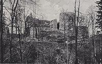 Cisów - Ruiny zamku na widokówce z lat 30. XX wieku