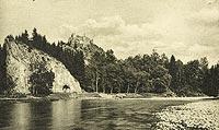 Zamek w Czorsztynie - Zamek w Czorsztynie na pocztówce z około 1925 roku