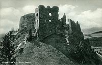 Zamek w Czorsztynie - Ruiny zamku w Czorsztynie na pocztówce z około 1935 roku