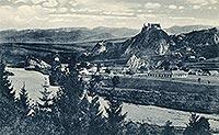 Zamek w Czorsztynie - Czorsztyn na zdjęciu Arnolda Strompfa z okresu międzywojennego