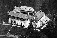 Zamek w Dębnie - Zamek na zdjęciu lotniczym z okresu międzywojennego