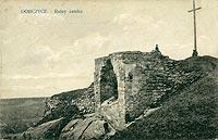Zamek w Dobczycach - Ruiny zamku w Dobczycach na zdjęciu J.Špičáka z 1915 roku