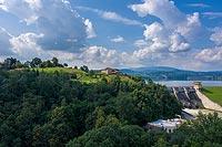 Zamek w Dobczycach - zdjęcie lotnicze, fot. ZeroJeden, VII 2020