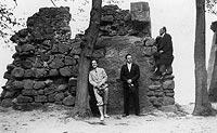 Zamek w Dobczycach - Pozostałości zamku w Dobczycach na zdjęciu z lat 1918-1939