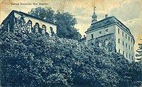 Zamek w Domanicach - Zamek na pocztówce z 1934 roku