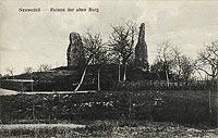 Zamek w Drawnie - Pozostałości zamku na widokówce z lat 20. XX wieku