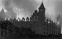 Zamek w Gniewie - Pożar zamku na zdjęciu z 1921 roku