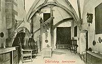Zamek Grodziec - Wnętrza zamku Grodziec na pocztówce z 1910 roku