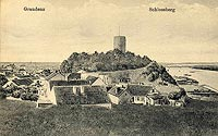 Zamek w Grudziądzu - Wieża zamkowa na widokówce z 1920 roku