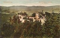 Zamek Bolczów w Janowicach Wielkich - Zamek Bolczów na widokówce z 1924 roku