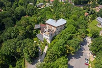 Zamek w Korzkwi - Widok zamku na zdjęciu lotniczym, fot. ZeroJeden, VI 2019