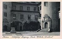 Zamek w Kostrzynie nad Odrą - Dziedziniec zamkowy na widokówce z 1938 roku