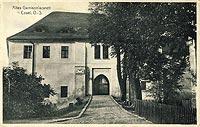 Zamek w Kędzierzynie-Koźlu - Brama na podzamcze na pocztówce z okresu międzywojennego