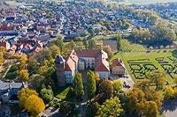Zamek w Koźminie - Widok z lotu ptaka od zachodu, fot. ZeroJeden, X 2013