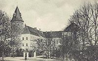 Koźmin - Zamek w Koźminie na pocztówce z 1905 roku