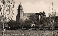 Koźmin - Zamek w Koźminie na pocztówce z okresu międzywojennego