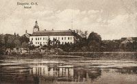 Zamek w Krapkowicach - Zamek w Krapkowicach na pocztówce z 1918 roku