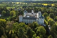 Zamek w Krasiczynie - Zamek w Krasiczynie na zdjęciu lotniczym z okresu międzywojennego
