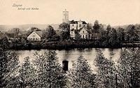 Zamek w Łagowie - Zamek w Łagowie na pocztówce z okresu międzywojennego