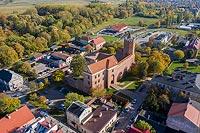 Zamek w Łęczycy - Zdjęcie lotnicze, fot. ZeroJeden, X 2019