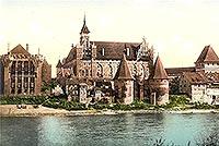 Zamek w Malborku - Baszty mostowe oraz Pałac Wielkich Mistrzów i Zamek Górny na widokówce z 1912 roku