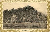 Zamek w Melsztynie - Wzgórze zamkowe na pocztówce z około 1915 roku