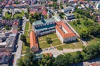 Miechów - Widok zamku na zdjęciu lotniczym, fot. ZeroJeden, VI 2019