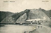 Zamek w Muszynie - Zamek w Muszynie na pocztówce z 1931 roku