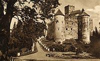 Zamek w Niedzicy - Zamek w Niedzicy na pocztówce z roku 1930-35