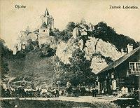 Zamek w Ojcowie - Zamek w Ojcowie na pocztówce z 1908 roku