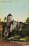Zamek w Ojcowie - Ruiny zamku na pocztówce z około 1930 roku