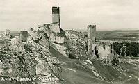 Zamek w Olsztynie - Zamek w Olsztynie na pocztówce z okresu międzywojennego