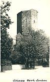 Zamek w Ostrzeszowie - Wieża zamkowa na pocztówce z okresu międzywojennego