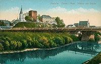 Zamek w O�wi�cimiu - Zamek na widok�wce z 1917 roku