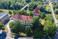 Zamek w Oświęcimiu - Widok zamku na zdjęciu lotniczym, fot. ZeroJeden, VI 2019