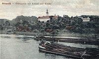 Zamek w Otmęcie - Zamek w Otmęcie na pocztówce z 1921 roku