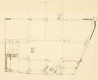 Zamek w Dąbrównie - Plan miasta w obrębie murów obronnych, z wyróżnieniem lokalizacji zamku i kościoła, lata 20. XX wieku