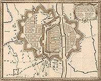 Zamek w Elblągu - Miasto na sztychu Erika Dahlbergha z dzieła Samuela Pufendorfa 'De rebus a Carolo Gustavo gestis', podzamcze oznaczone literą F, 1656 rok