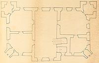 Dwór we Frydmanie - Rzut górnej kondygnacji kasztelu według Adama Miłobędzkiego  [<a href=/bibl_ksiazka.php?idksiazki=1072&wielkosc_okna=d onclick='ksiazka(1072);return false;'>źródło</a>]