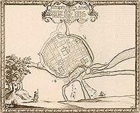 Zamek w Poznaniu - Miasto i zamek na sztychu Erika Dahlbergha z dzieła Samuela Pufendorfa 'De rebus a Carolo Gustavo gestis', 1656