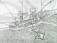 Zamek w Tykocinie - Plan miasta z około 1790 roku, rys. Kruszewski, zaczerpnięte z: 'Zabytki architektury i urbanistyki w Polsce' Warszawa 1986