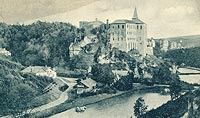 Zamek Pieskowa Skała - Zamek Pieskowa Skała na pocztówce z około 1930 roku