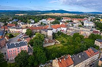 Zamek w Prudniku - Zdjęcie lotnicze, fot. ZeroJeden, VII 2019