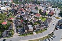 Zamek w Przedborzu - Widok zamku z lotu ptaka, fot. ZeroJeden VIII 2018