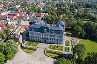 Zamek w Pszczynie - Widok zamku na zdjęciu lotniczym, fot. ZeroJeden, VI 2019