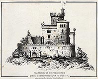 Zamek w Będzinie - Projekt odbudowy zamku w Będzinie F.M.Lanciego z około 1834 roku, drzeworyt według rysunku B.Podbielskiego, Tygodnik Illustrowany 1861 ze zbiorów Biblioteki Instytutu Badań Literackich PAN